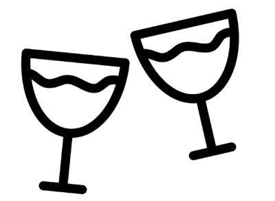 Figurinha representando duas taças cheias
